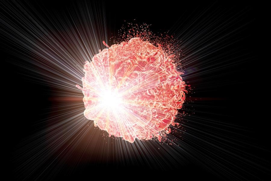 Kreftcelle som stråles