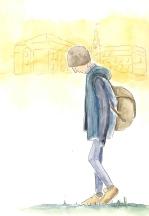 går utenfor skolen