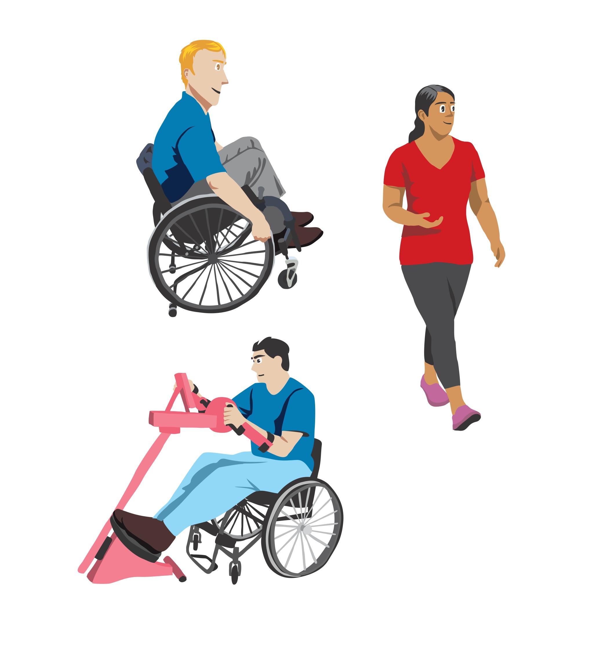 Illustrasjon hjuling gange trening sitter